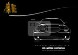 Fotografie white silhouette of car on black background with traffic light image vector illustration