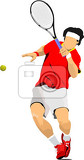 Fotografie man tennis player in red tshirt colored vector illustration for designers