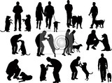 Fotografia people silhouettes with dog