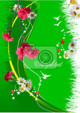 summer green  floral background vector illustration