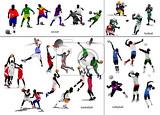 Photo games with ball soccer football basketball volleyball vector illustration