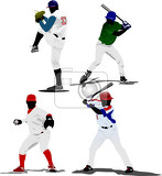 Photo four baseball players vector illustration