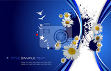 blue floral background vector illustration