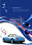 blue business background with car image vector illustration