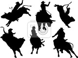 Fotografie six rodeo silhouettes vector illustration