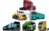 Fotografia colored vector illustration of trucks help for designers