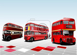 three london double decker red buses vector illustration