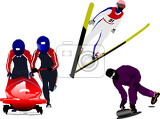 winter sport silhouettes bobsleighing ski  jumping curling vector illustration