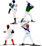 four baseball players vector illustration
