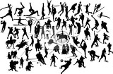 Fotografie collection of black and white sport silhouettes vector illustration