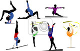 Photo woman gymnastic colored silhouettes vector illustration