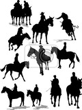 Fotografie horse riders silhouettes vector illustration