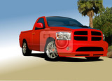 Fényképek red small truck on the road vector illustration