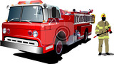 fire engine and fireman isolated on background vector illustration