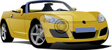 yellow cabriolet on the road vector illustration