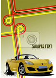 cover for brochure with junction and yellow cabriolet image vector