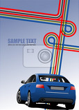 blue cover for brochure with junction and blue car image vector
