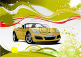 green and yellow grunge background with cabriolet image vector