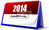vector illustration of desk calendar 2014 year