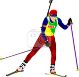 biathlon runner silhouette vector illustration