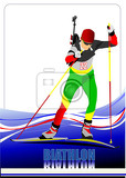 Fotografia biathlon runner colored silhouettes vector illustration