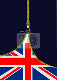 zipper open uk flag with place for text vector illustration