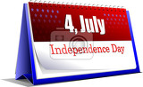 4th july  independence day of united states of america desk calendar vector illustration