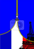 zipper open france flag with place for text vector illustration