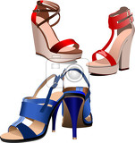 fashion woman blue shoes poster vector illustration