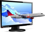 flat computer monitor with plane image display vector illustration
