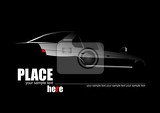 Fotografie white silhouette of car on black background vector illustration