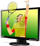 Photo background with flat computer monitor with tennis player image display vector illustration