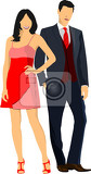 gentleman and lady couple pair vector illustration