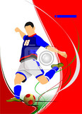 Fotografie soccer player poster vector illustration