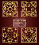 four gold ornaments on brown background can be used as invitation card or cover vector illustration