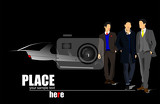 white car silhouette and three businessmen on black background vector illustration