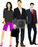 two businessmen and businesswoman women over white background vector illustration