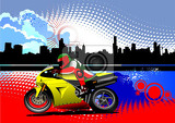 grunge colored silhouette cityscape with biker image vector illustration