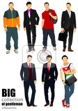 collection of handsome young men businessmen vector illustration