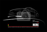 white silhouette of car on black background vector illustration