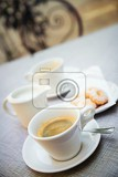 coffee and cookies on the table outdoor  small focus