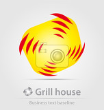 Photo grill house business icon for creative design