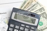 Fotografia usa dollar money banknotes and calculator money concept business workplace