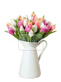 colorful tulips in a vase on a white background