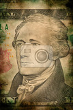 macro of alexander hamilton on ten usa one dollar banknote grunge vintage style