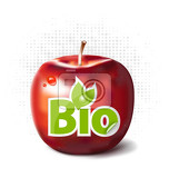 Photo red apple with bio label for fruit bioproduction