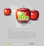 Photo red apples with bio label for creative design