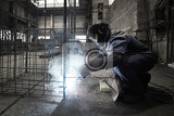 Photo Welder with protective mask welding reinforcement bars