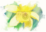 Fotografie spring daffodils in garden vintage retro watercolor effect