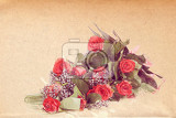 Fotografie watercolor effect bouquet of fresh red roses in vintage colors